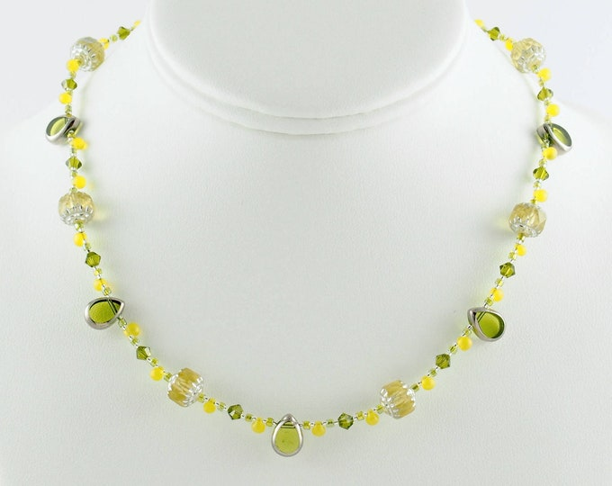 Lime Green & Chartreuse Delicate Necklace Set