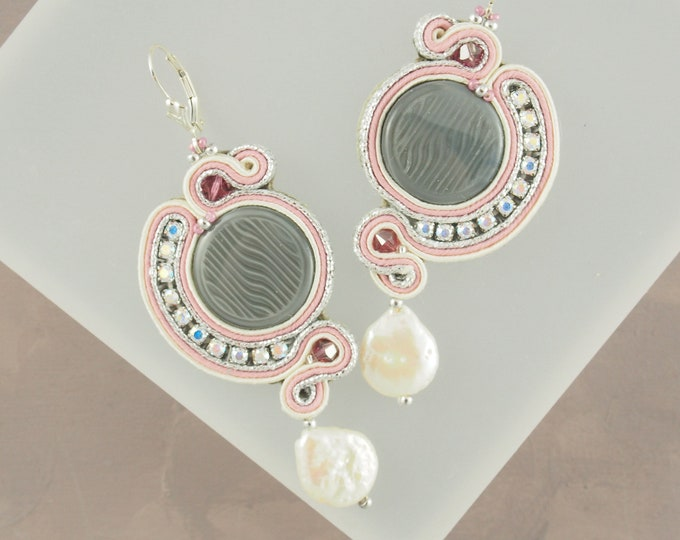 Extra Large Pink and Grey Soutache Earrings