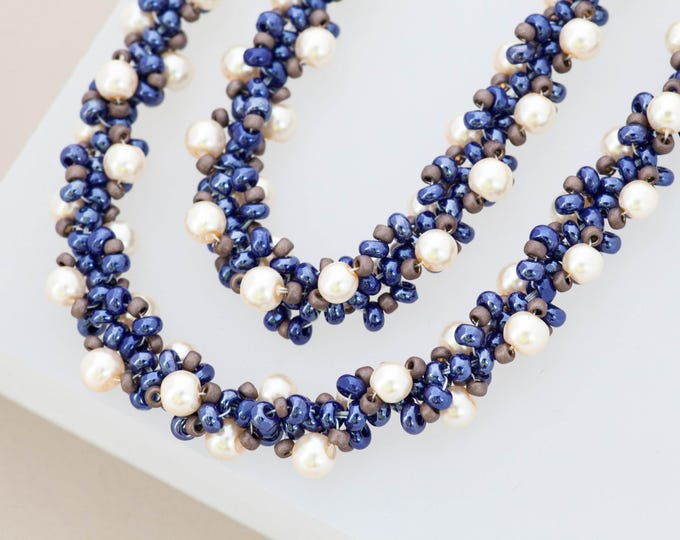 Nautical Navy & White Necklace Spiral Necklace Set