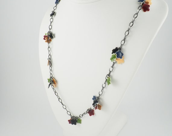 Fall Flower Enamel Charm Necklace