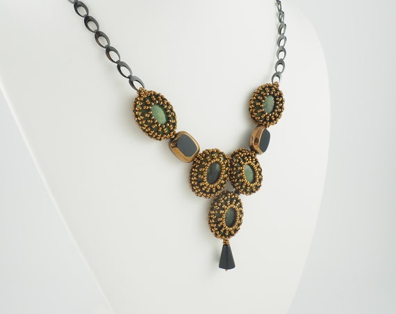 Art Deco Caged Jasper Necklace