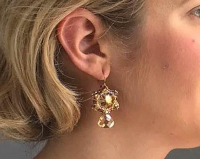 Sparkly Gold Teardrop Dangle Earrings