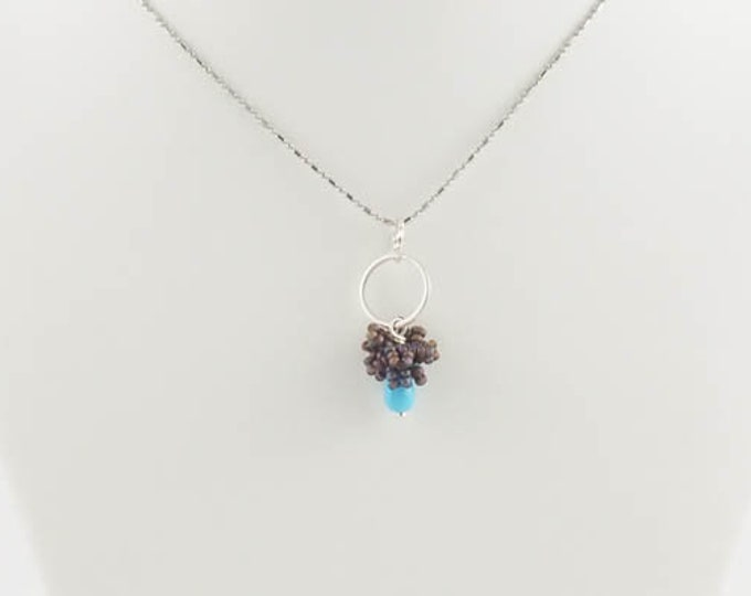 Modern Small Turquoise Blue & Silver Pendant Set