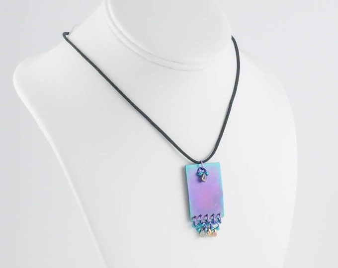Purple Teal Titanium Pendant Necklace, Peacock Colors, Rainbow Multi Color, Unique OOAK Designer, Gift for Her, Gift for Girlfriend