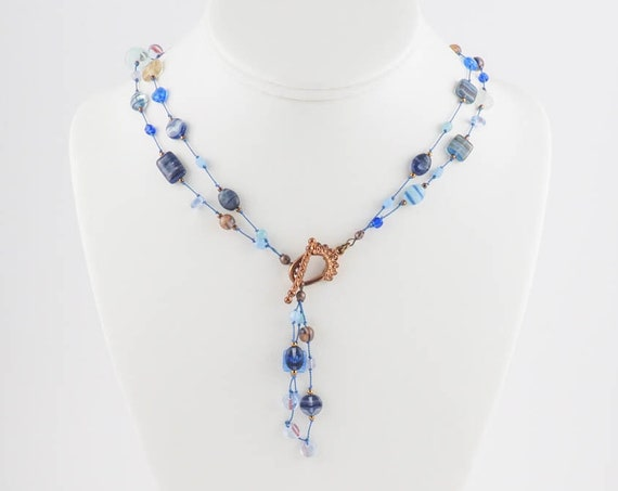 Blue Knotted Multi Strand or Lariat Tassel Necklace