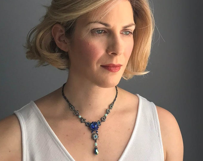 Blue Sapphire Faceted Y Necklace