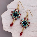Gold Geometric Seed Beaded Earrings with Black Swarovski Crystal and Ruby Drop, Bollywood Style Delicate Earrings for Pakistani Wedding Gift