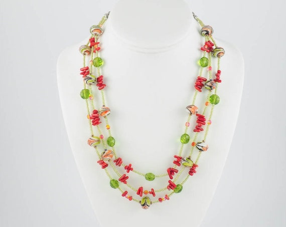 Three-Tiered Fiesta Necklace in Coral and Green