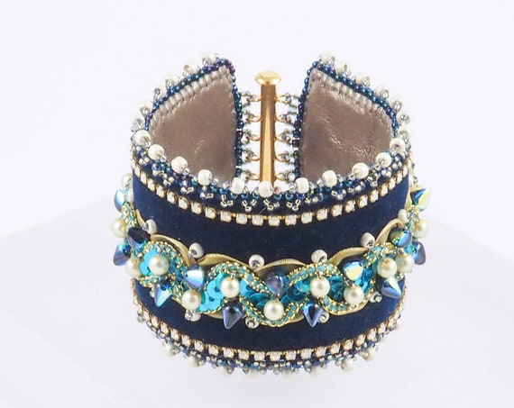 Navy Velvet Bead Embroidery Wide Cuff