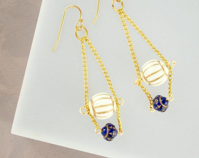 Vintage Blue Chandelier Earrings
