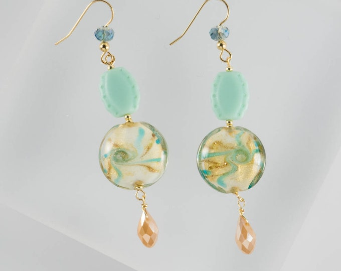 Sea Foam Green Murano Glass Earrings