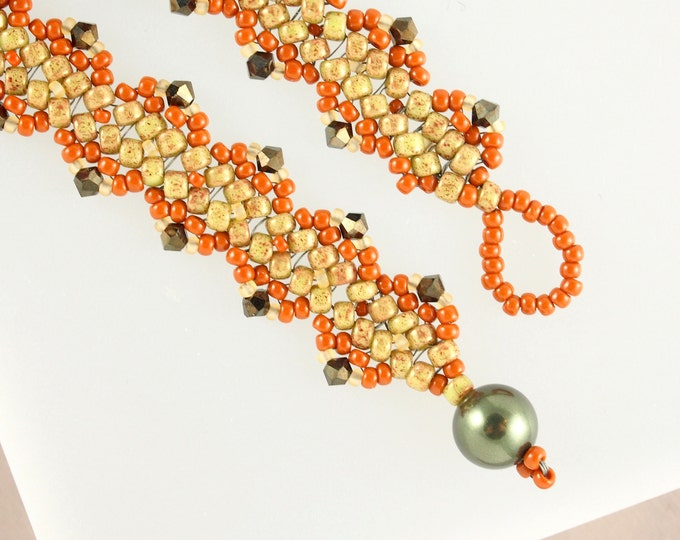 Olive Green and Terra Cotta Embellished Bracelet