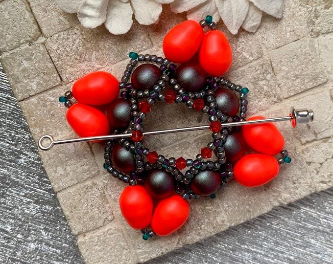 Beaded Swarovski Pearl Shawl Pin in Neon Red