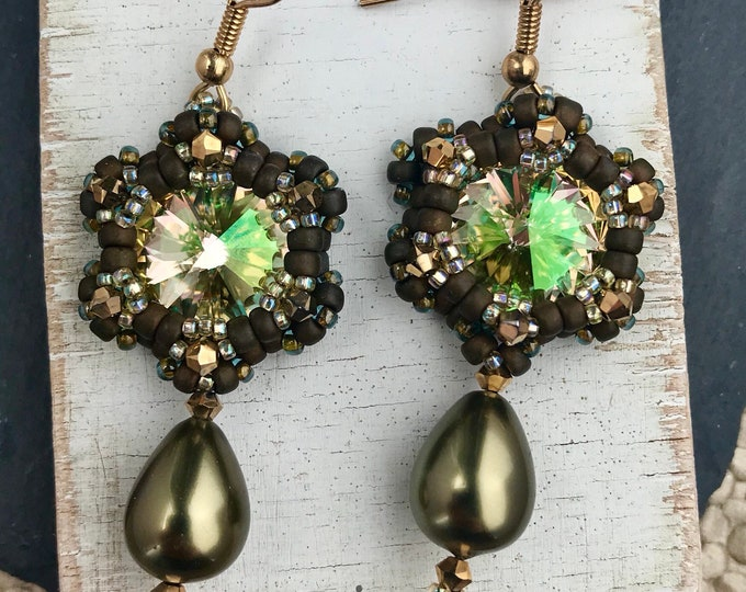 Green and Gold Star Dangle Earrings