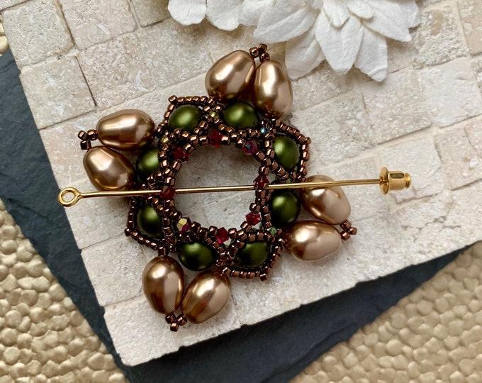 Beaded Swarovski Pearl Shawl Pin in Green and Bronze