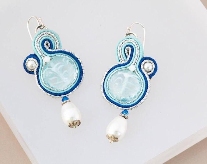 Milk White Swirl Soutache Earrings