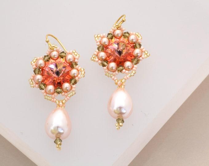 Lacy Rose & Emerald Flower Earrings