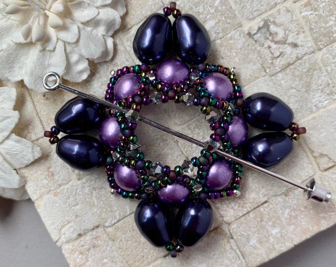 Beaded Swarovski Pearl Shawl Pin in Royal Purple and Lavender