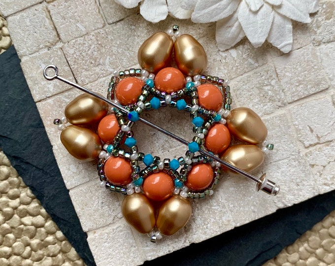 Beaded Swarovski Pearl Shawl Pin in Coral and Gold