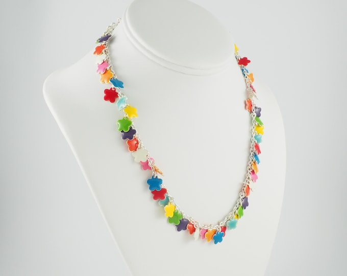 Bright Rainbow Enamel Flower Charm Necklace on Silver Chain, Fun Summer Necklace, Unique Anniversary Gift for Wife