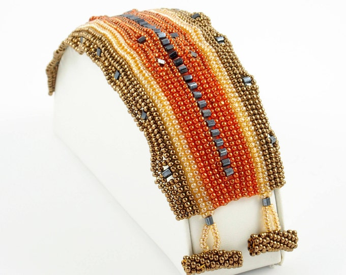 Copper, Gold, Red & Black Tapestry Beaded Cuff Bracelet