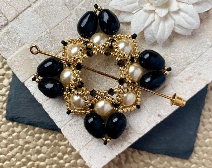 Beaded Swarovski Pearl Shawl Pin in Black, Gold and Cream