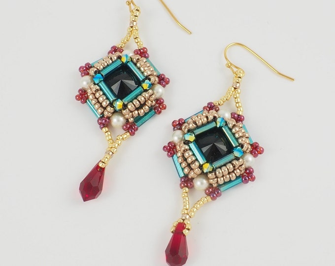 Classic Geometric Earrings in Gold, Black and Red