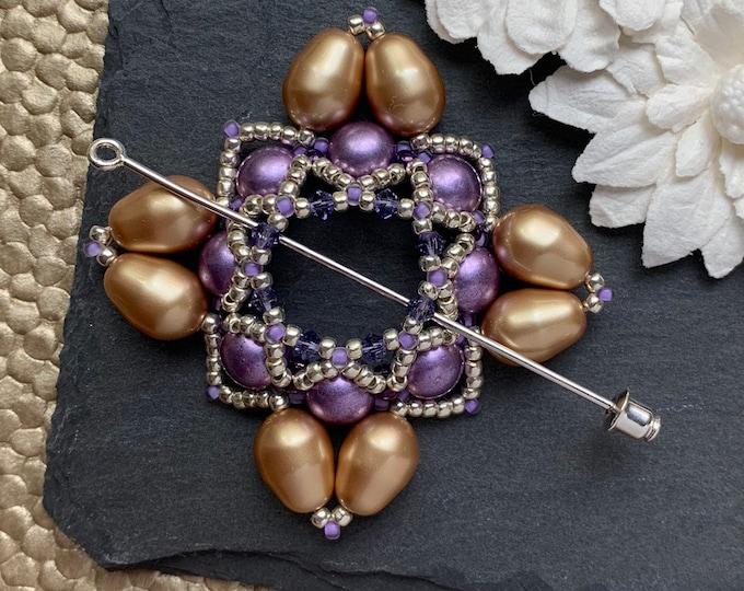 Beaded Swarovski Pearl Shawl Pin in Purple, Silver and Gold