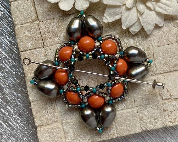 Beaded Swarovski Pearl Shawl Pin in Silver and Coral