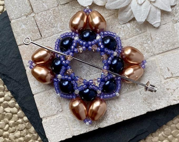 Beaded Swarovski Pearl Shawl Pin in Royal Purple and Bronze