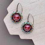 Colorful Swarovski Crystal Beadwoven Earrings, Fiesta Earrings, Multi Colored Earrings, Ruby Red Crystal Earrings, Fringe Earrings