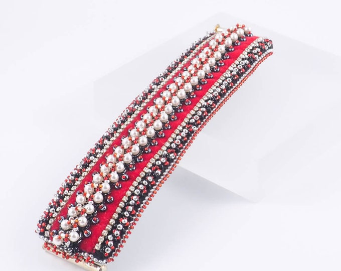 Ornate Wide Bead Embroidery Cuff