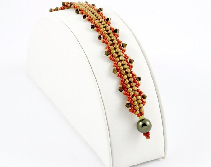Olive Green and Terra Cotta Embellished Bracelet
