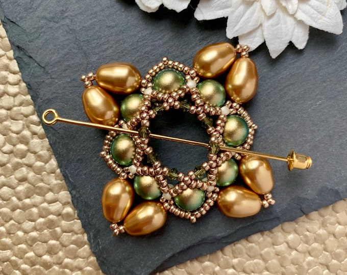 Beaded Swarovski Pearl Shawl Pin in Iridescent Green and Bright Gold