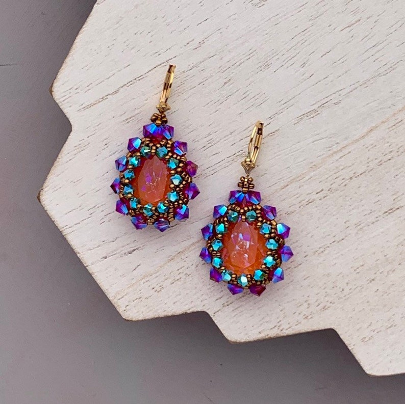 Tangerine Orange and Fuchsia Beadwoven Earrings Beaded image 0