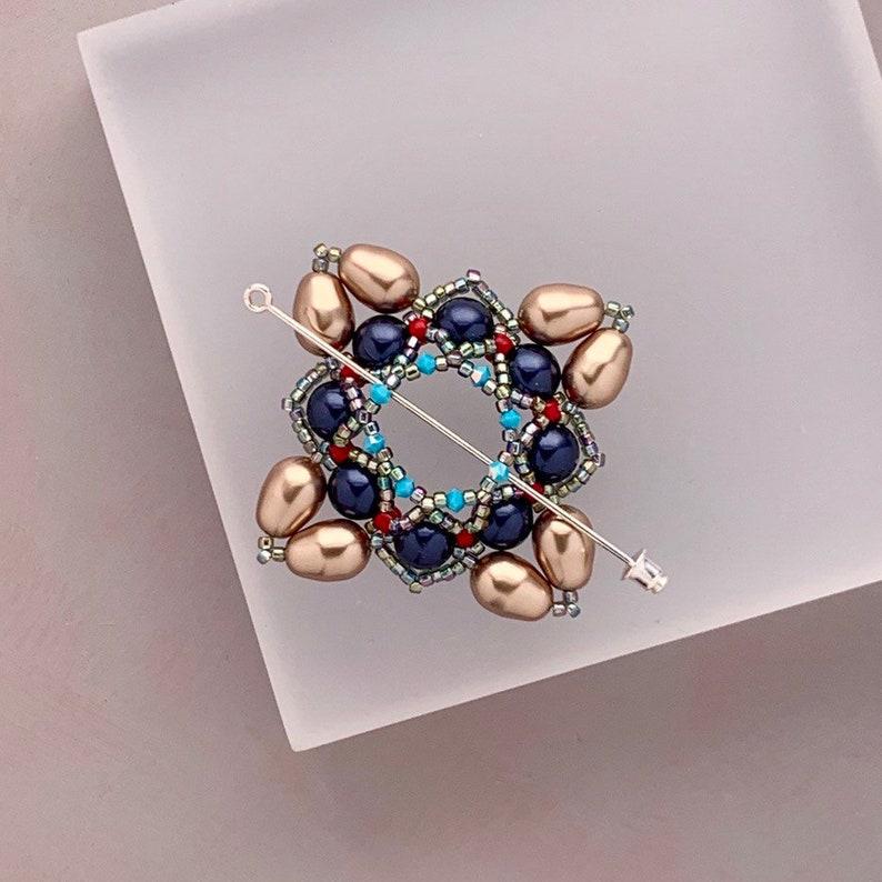 Beaded Shawl Pin Beaded Swarovski Pearl Cloak Clasp in Bronze image 0