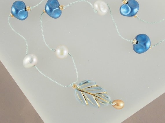 Blue & Gold Leaf Knotted Silk Necklace with Vintage Pearls