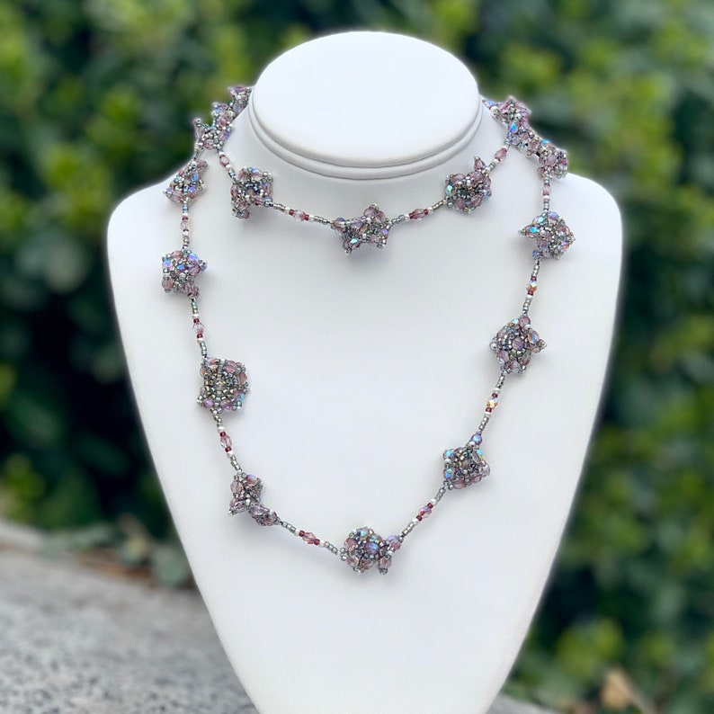 Extra Long Beadwork Necklace Purple Seed Beaded Necklace image 0
