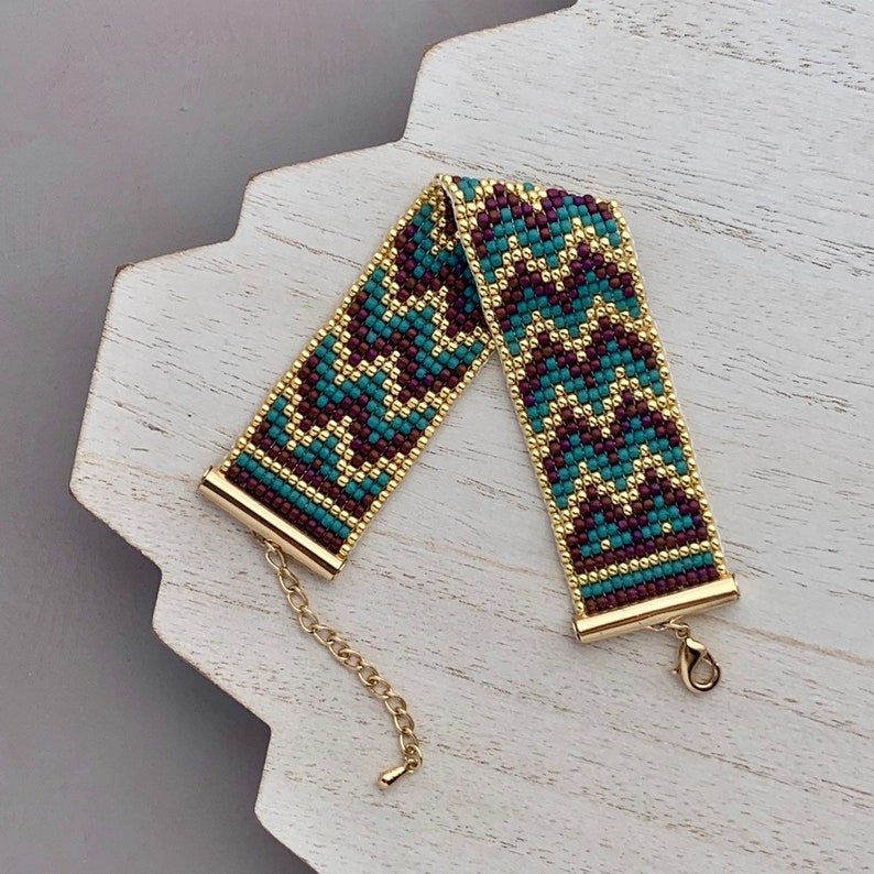 Loom Beaded Bracelet Chevron Pattern Gold and Teal image 0