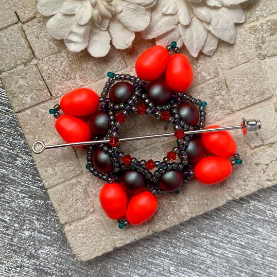 Beaded Swarovski Pearl Shawl Pin in Neon Red