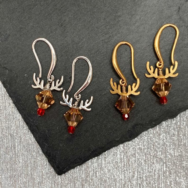 Rudolph Reindeer Earrings Christmas Earrings Holiday image 0