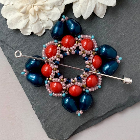 Beaded Swarovski Pearl Shawl Pin in Navy and Red Coral