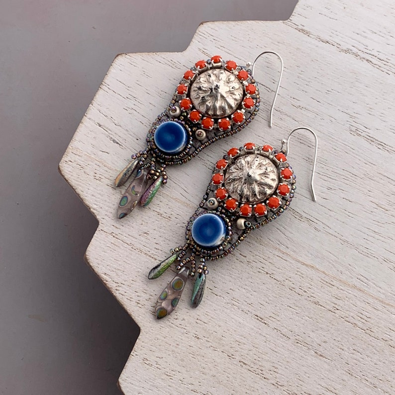 Southwestern Style Bead Embroidery Dangle Earrings in Coral image 0