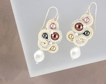 Soutache Pearl Earrings Mauve Earrings Dusty Rose Unique Jewelry Delicate Lightweight Mother of the Bride 50th Birthday Gift for Her