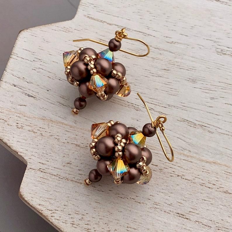 Oversized Pearl Beadwork Earrings Bronze Pearl Earrings image 0