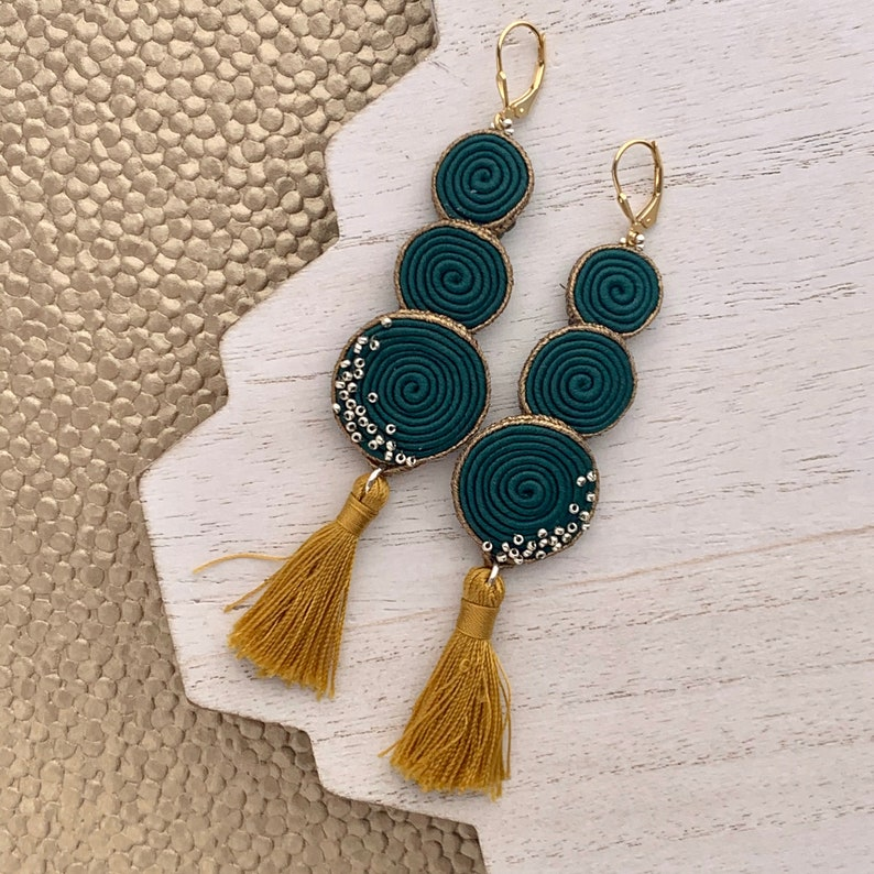 Soutache Fabric Earrings Oversized Gold and Emerald Statement image 0