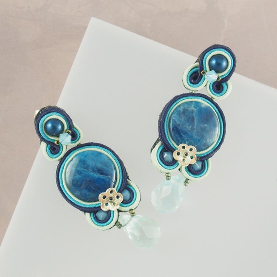 Soutache Swirls in Blues Hues Earrings