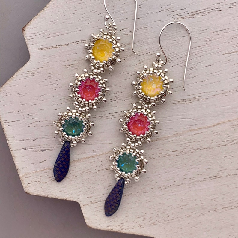 Colorful Swarovski Crystal Beadwoven Earrings Multi Colored image 0