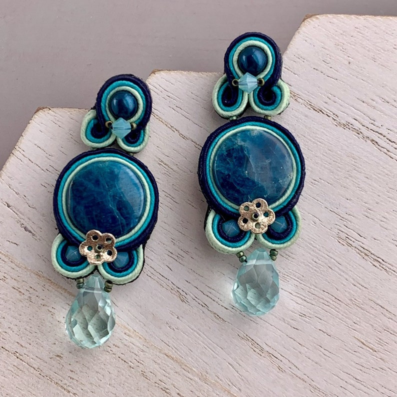 Soutache Earrings with Blue Gemstone and Teal Pearls Unique image 0