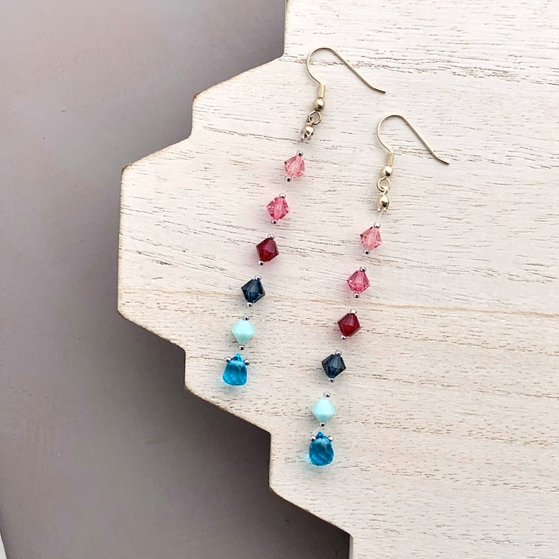 Extra Long Floating Earrings Pink and Blue Swarovski Crystal image 0